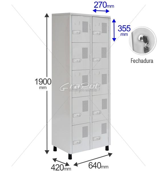 Roupeiro Para Vestiário RGRSP-4/10 10 Portas - Com FECHADURA - RCH