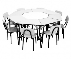Conjunto de mesas e cadeiras OITAVADO INFANTIL (1 à 5 anos) Branco ou Bege - Dellus