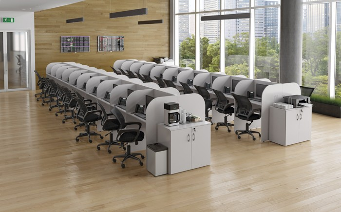 Módulo Call Center Fechado 830mm x 600mm x 1150mm - 1 Lugar -