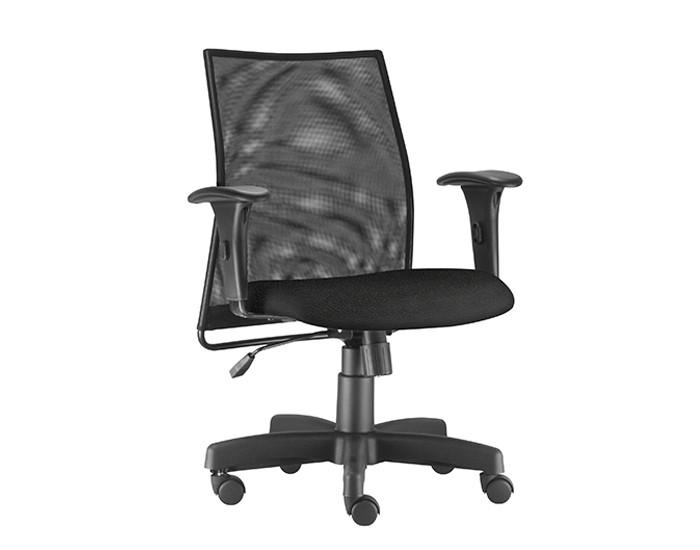 Cadeira Para Escritório Diretor Giratória LIS102 - Mecanismo Relax - Encosto em Tela - Base Metálica com Capa - Linha LISS - Com Braço PP - Frisokar