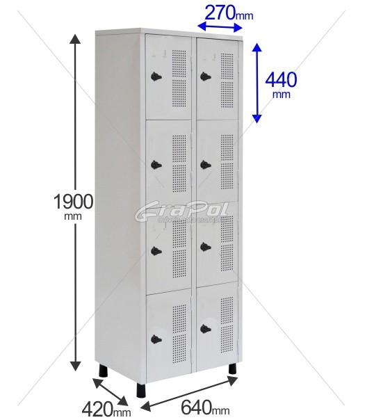 Roupeiro Para Vestiário RGRSP 4/8 8 Portas - Com Fecho Porta-Cadeado - RCH