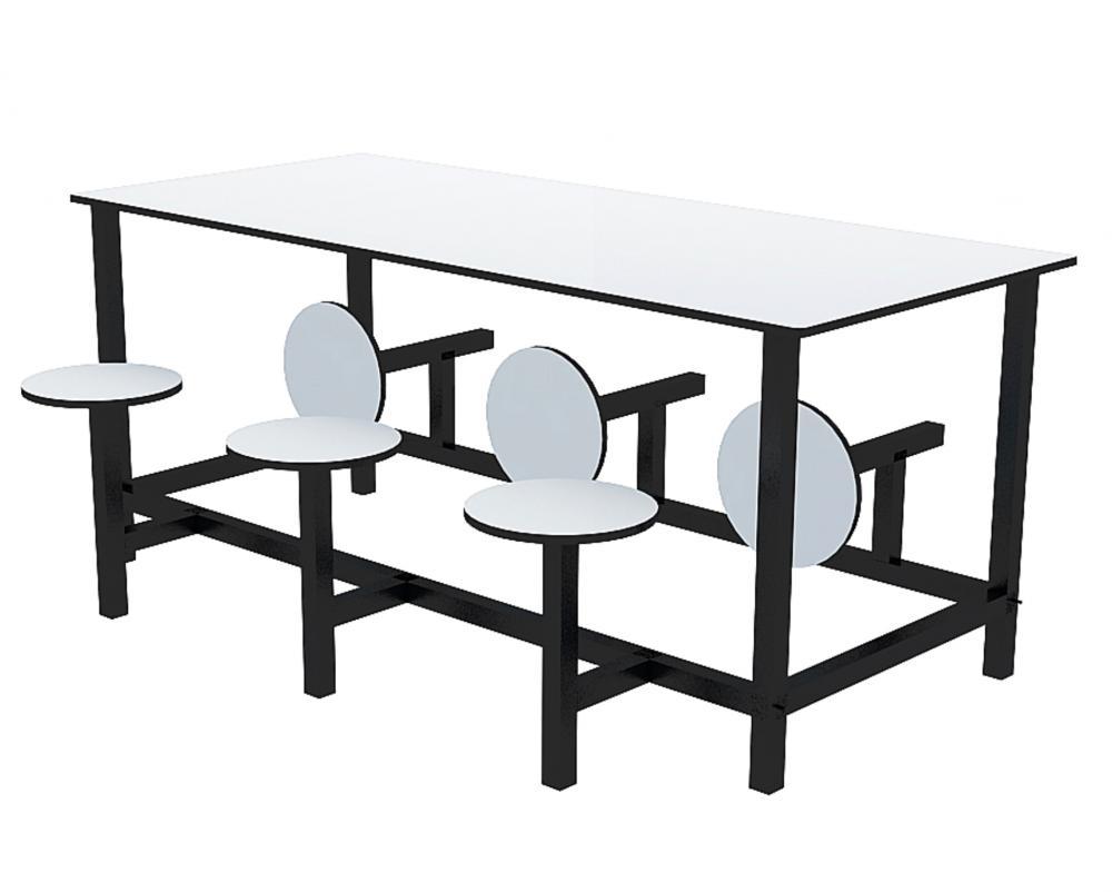 Mesa para refeitório com banco escamoteável 6 lug. MDF 15mm - Dellus
